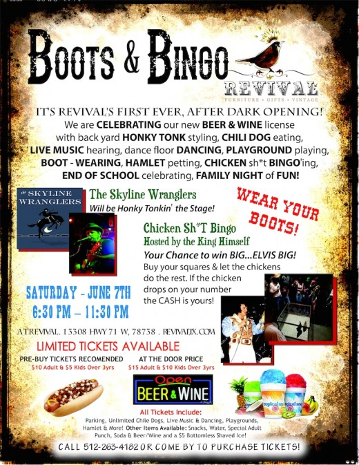 Boots & Bingo at Revival TX in Bee Cave, Texas