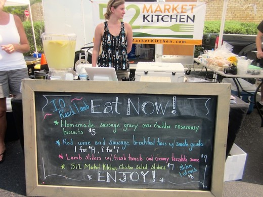 menu for 512 Market Kitchen at the Lone Star Farmers Market in Bee Cave, Texas