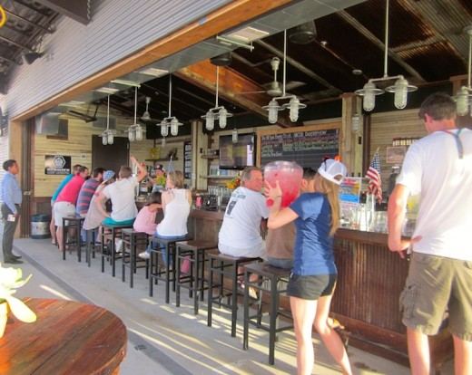 The bar at the new Oasis Brewing Company at Oasis Texas on Lake Travis near Austin Texas