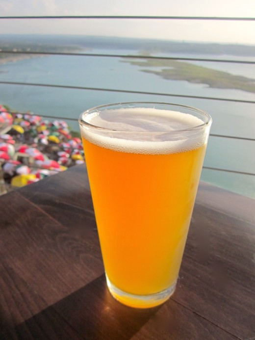 Slow Ride draft beer IPA from the new Oasis Brewing Company at Oasis Texas on Lake Travis