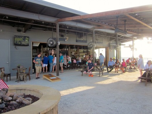 The patio at Oasis Brewing Company, new brewery at Oasis Texas on Lake Travis