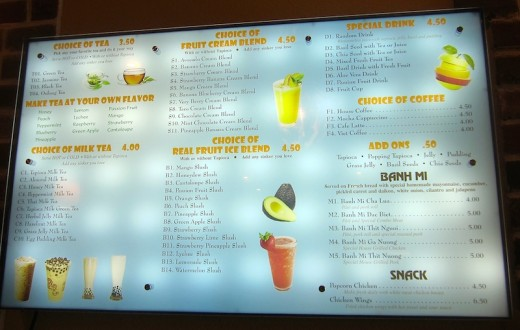 banh mi menu at the new simply pho house restaurant in bee cave, tx