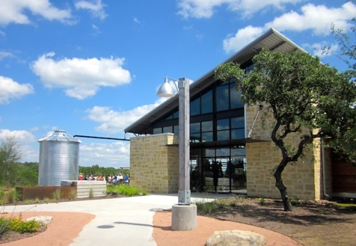 The front of the new Deep Eddy Vodka tasting room in Dripping Springs, Texas