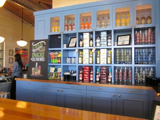 Vodkas and souvenirs for sale at the new Deep Eddy tasting room in Dripping Springs, Texas