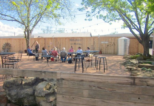 outdoor patio at the new winery Lost Draw Cellars in Fredericksburg, Texas